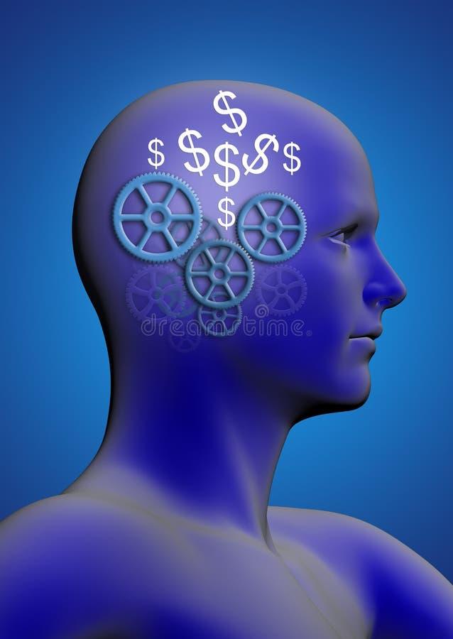 Perfil de un hombre con engranajes y un dólar libre illustration