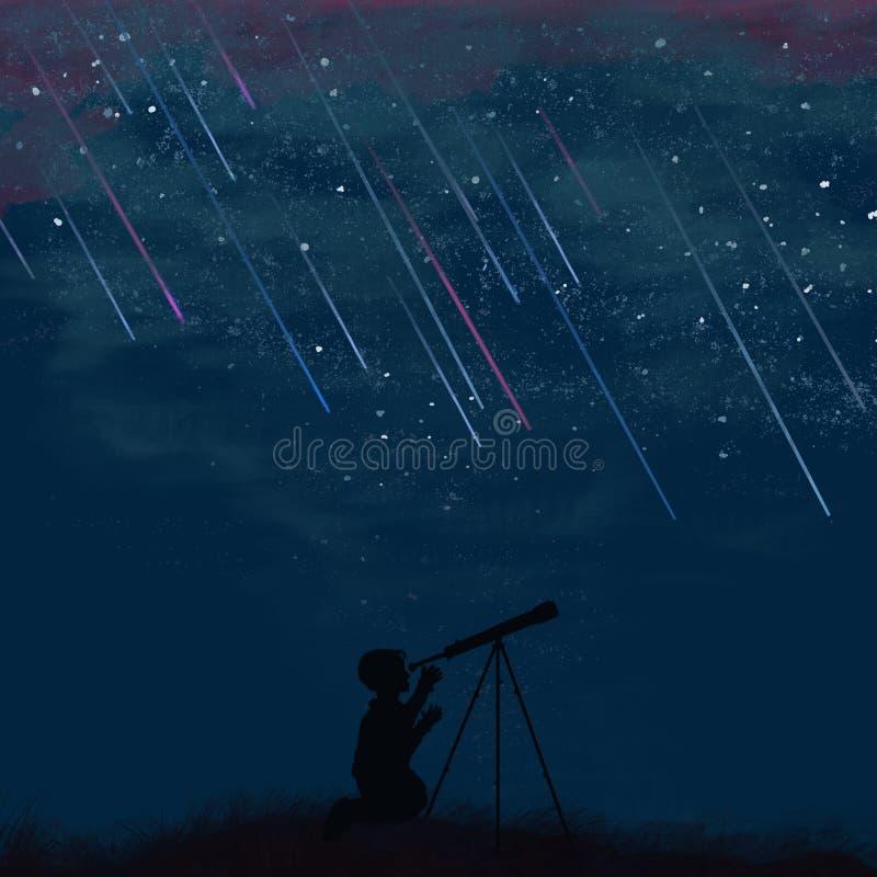Perfil de un muchacho que mira un telescopio la noche libre illustration