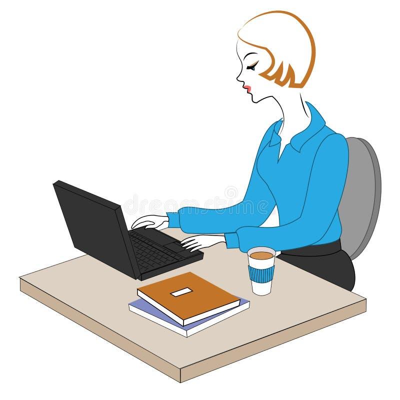 Perfil de una se?ora dulce La chica joven en el trabajo en la oficina se sienta en una tabla y los trabajos en el ordenador Ilust stock de ilustración