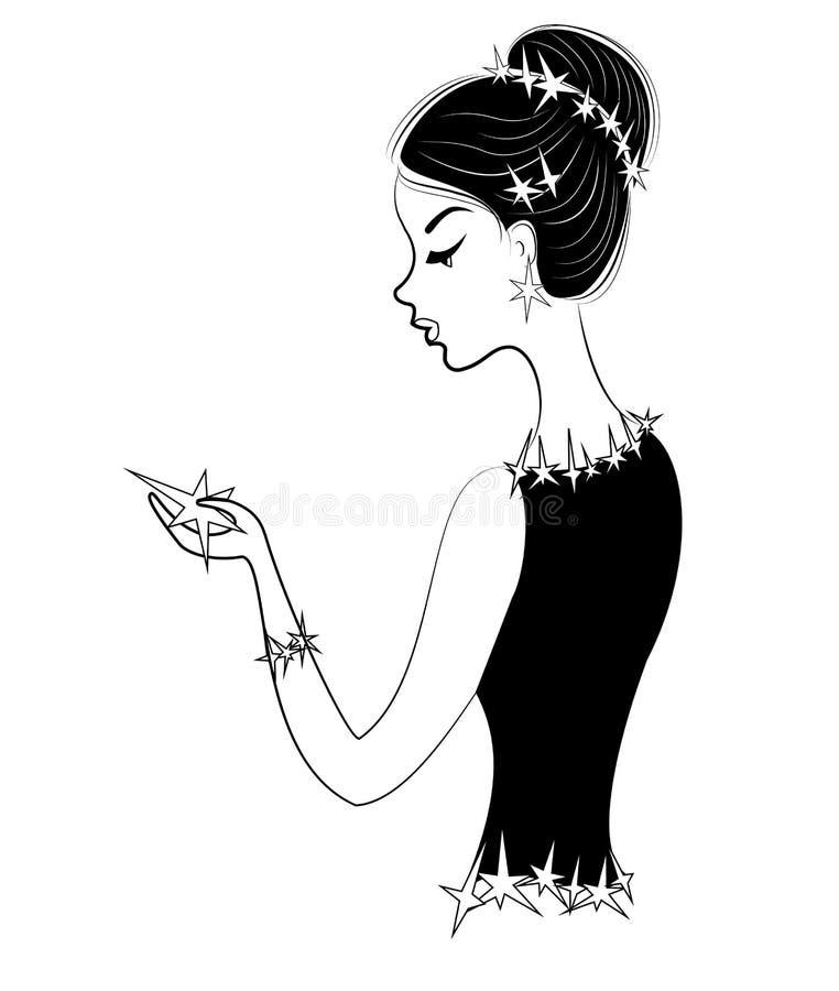 Perfil de una se?ora dulce La muchacha está sosteniendo una estrella La ropa y el pelo de una mujer se adornan con las estrellas  ilustración del vector