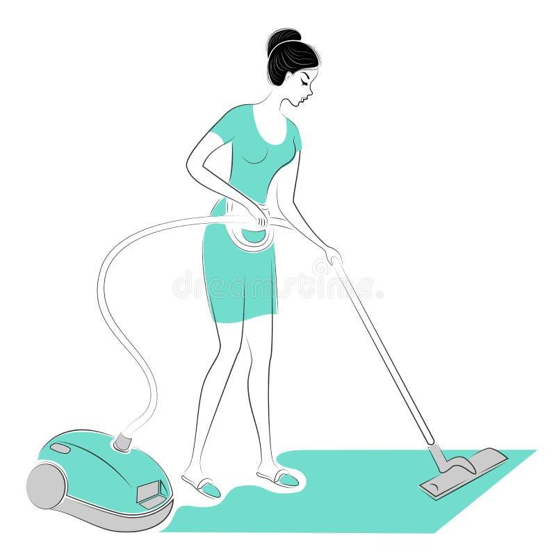 Perfil de una se?ora dulce La muchacha quita el polvo en el cuarto con un aspirador Una mujer es una buena esposa y ama de casa a ilustración del vector