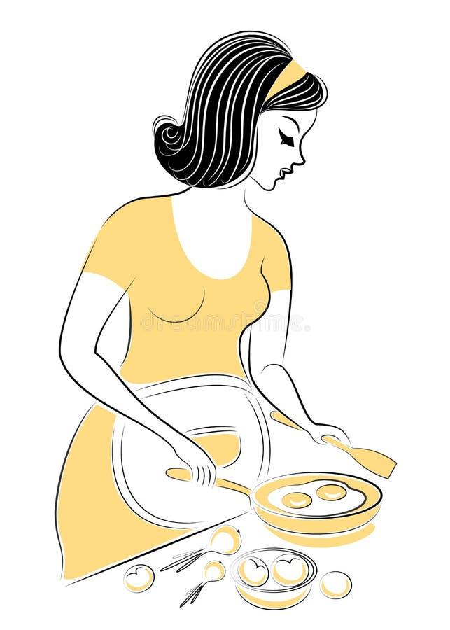 Perfil de una se?ora embarazada hermosa La muchacha cocina la comida, fríe los huevos en una cacerola La mujer es una buena espos ilustración del vector