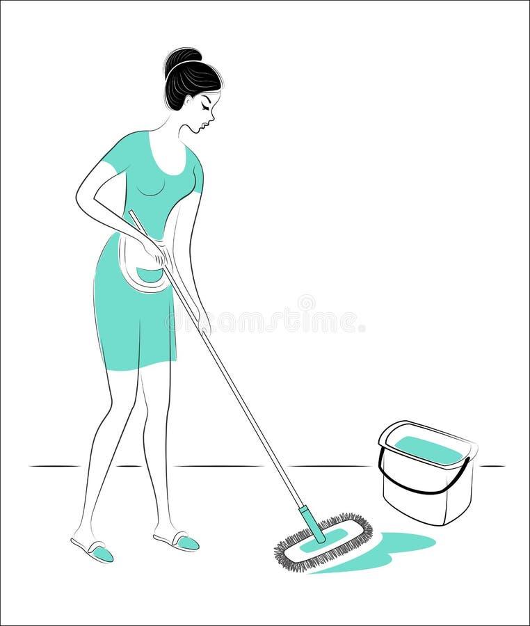 Perfil de una se?ora preciosa La muchacha lava el piso en el cuarto con una fregona Una mujer es una buena esposa, ama de casa as fotos de archivo