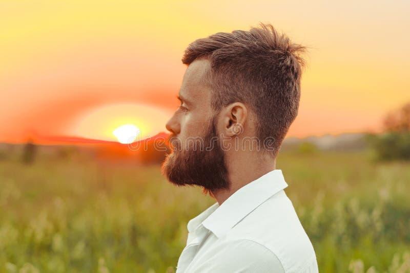 Perfil del hombre con la barba fotografía de archivo libre de regalías