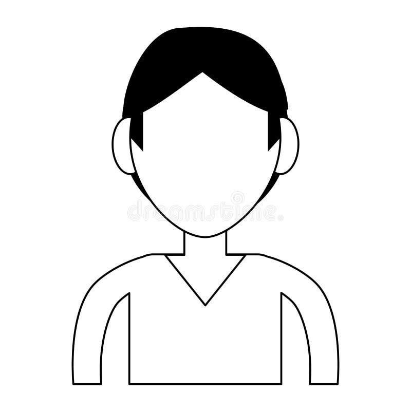 Perfil del hombre joven stock de ilustración