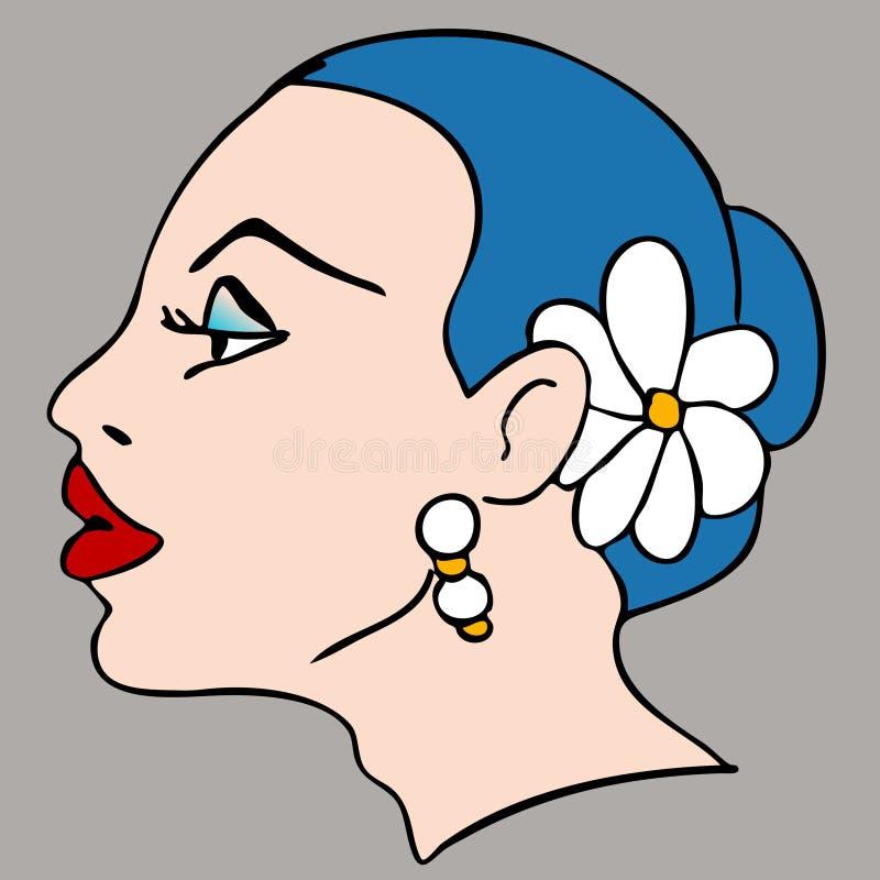 Perfil del pelo de la flor de la mujer libre illustration
