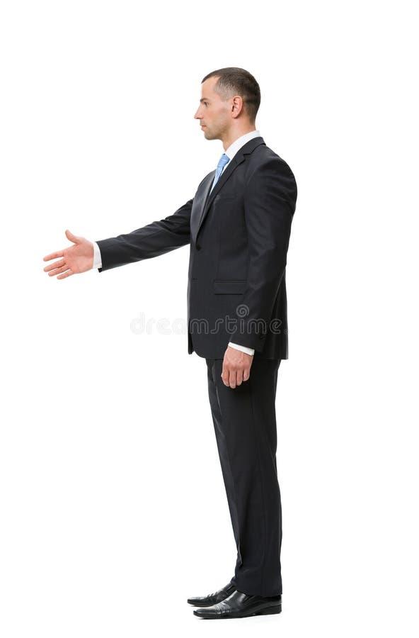 Perfil do aperto de mão do homem de negócios fotos de stock