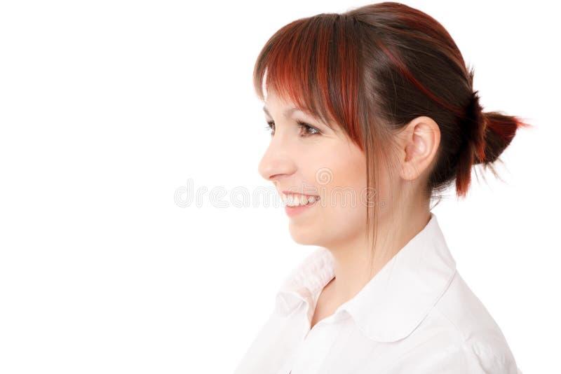 Perfil do close-up da jovem mulher de sorriso fotos de stock