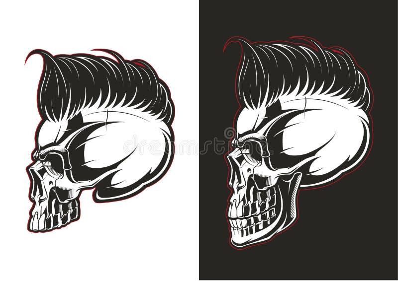 Perfil do crânio do barbeiro ilustração royalty free