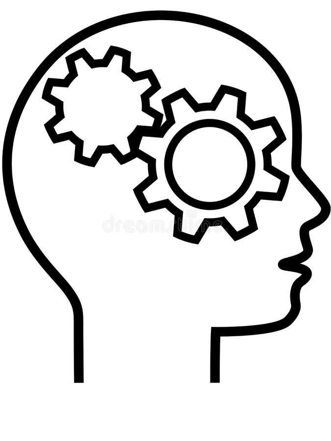Perfil do esboço do pensador do cérebro da cabeça da engrenagem ilustração do vetor