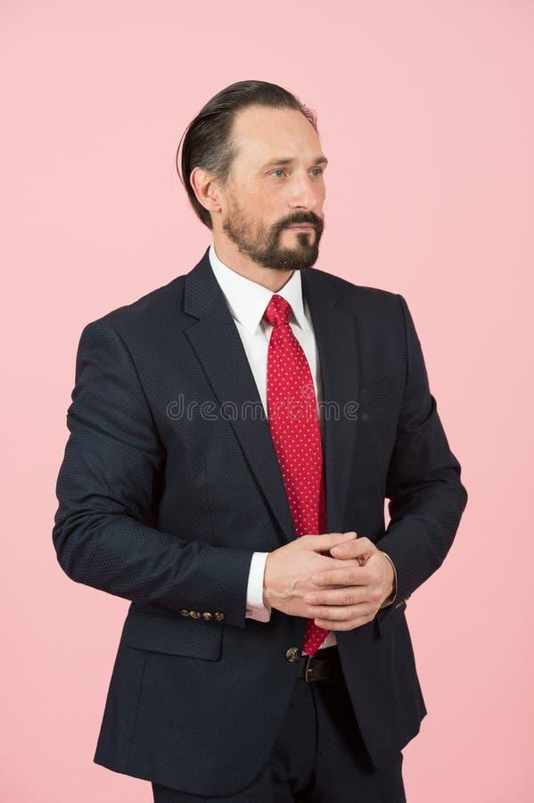 Perfil do gerente com laço vermelho e o terno preto isolados no estúdio sobre o fundo cor-de-rosa imagens de stock