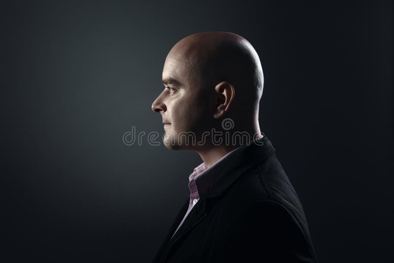 Perfil do homem calvo branco imagem de stock royalty free