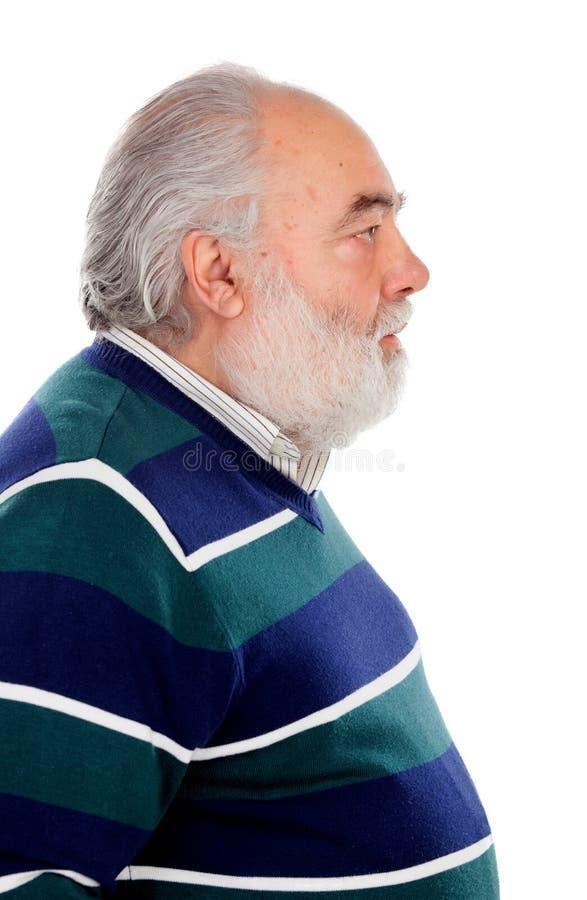 Perfil do homem superior com barba foto de stock