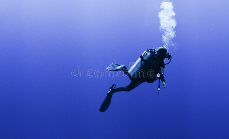 Perfil do mergulhador de mergulhador com bolhas fotos de stock royalty free