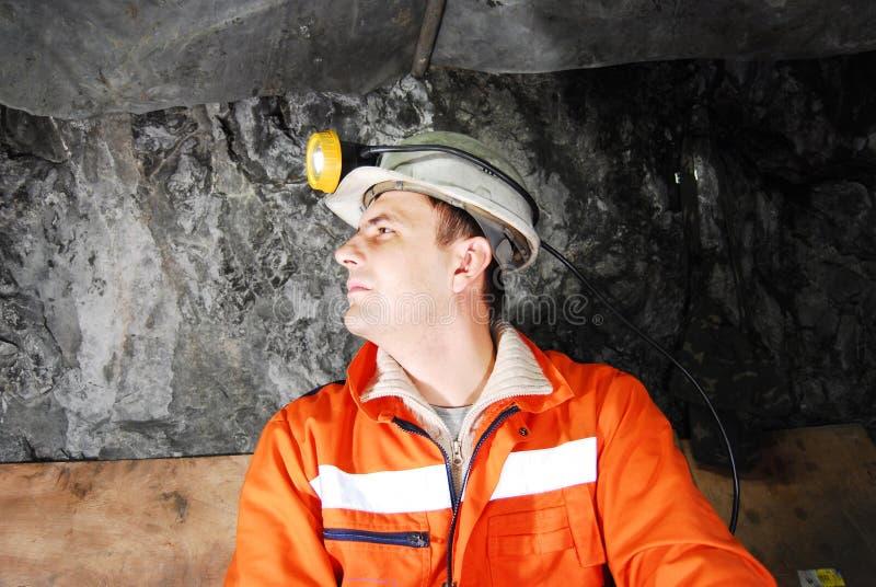 Perfil do mineiro foto de stock