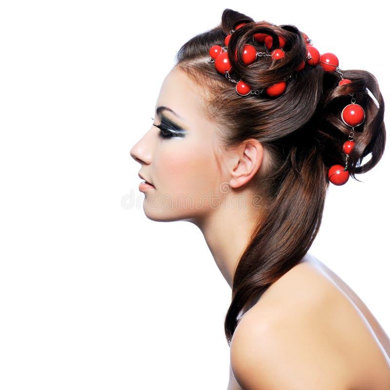 Perfil do penteado da faculdade criadora e da composição da forma foto de stock