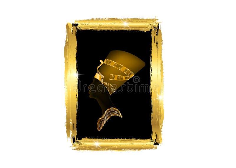 Perfil egipcio con el marco de oro, viejo icono egipcio de la silueta Reina Nefertiti Perfil del retrato del vector con las joyas ilustración del vector