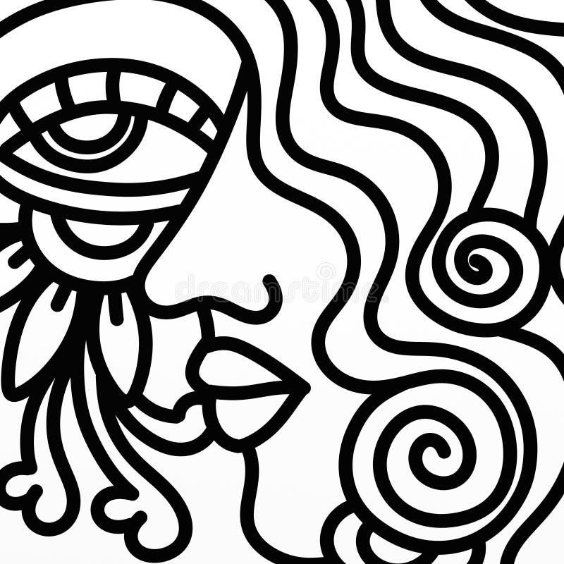 Perfil en blanco y negro stock de ilustración