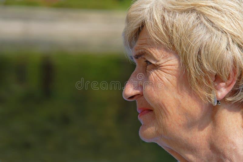Perfil enrugado da mulher imagem de stock