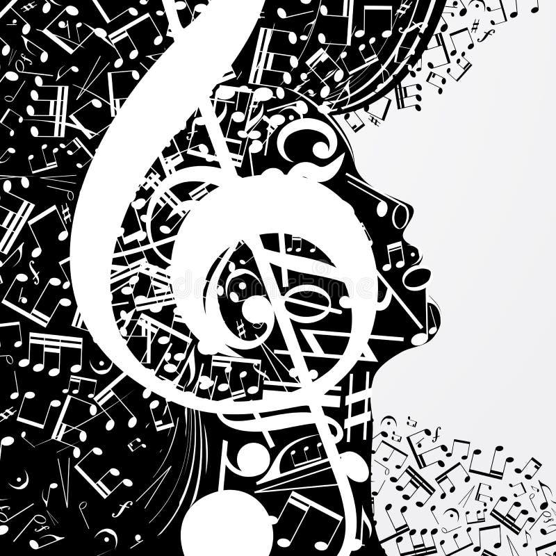 Perfil fêmea abstrato composto de sinais musicais, notas ilustração stock