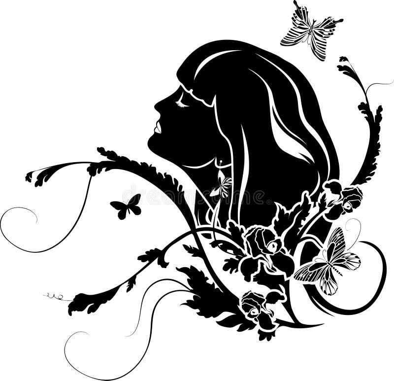 Perfil fêmea com flores ilustração stock