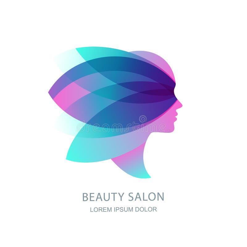 Perfil femenino en alas de la mariposa Logotipo del vector, emblema Cara para mujer en hojas de la flor Salón de belleza, maquill libre illustration