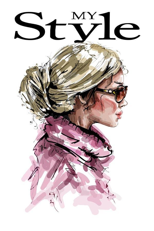 Perfil hermoso dibujado mano de la mujer joven Mirada de la manera Muchacha elegante elegante del pelo rubio Retrato de la mujer  stock de ilustración