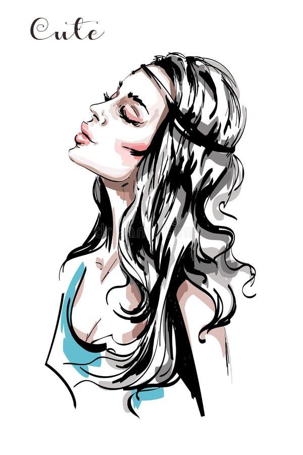Perfil hermoso dibujado mano de la mujer joven Muchacha elegante elegante con el pelo rubio largo Retrato de la mujer de la maner libre illustration
