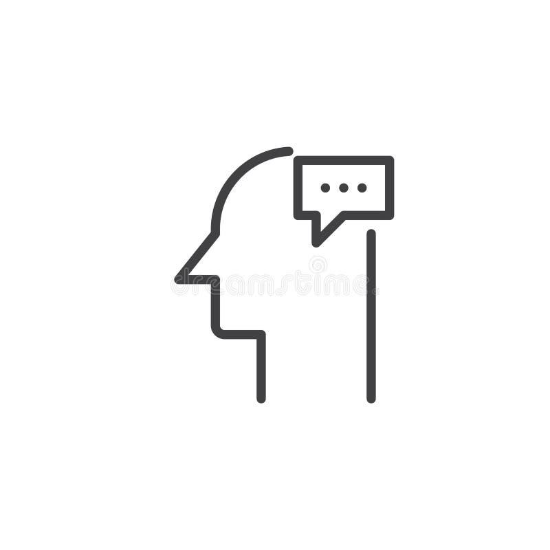 Perfil humano com ícone do esboço da bolha do discurso ilustração stock