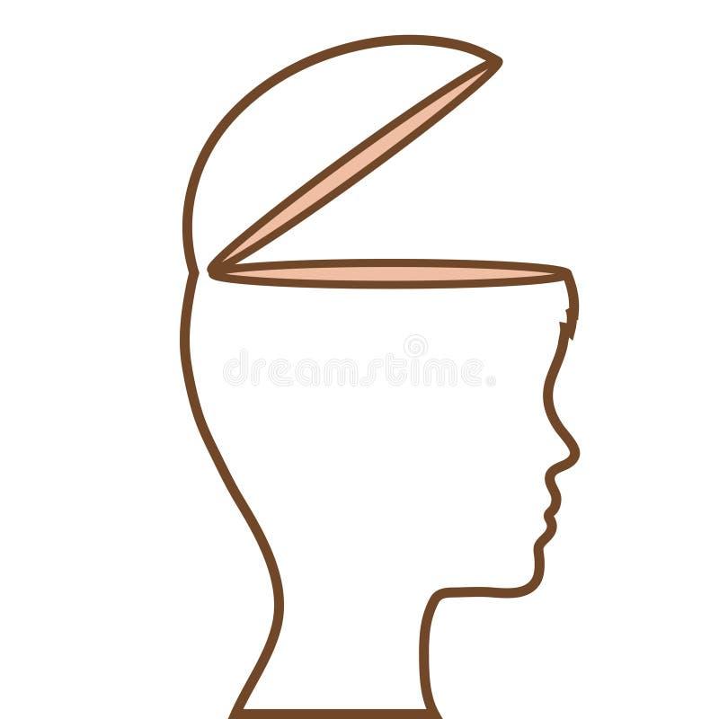Perfil humano con diseño del ejemplo del vector de la mente abierta stock de ilustración
