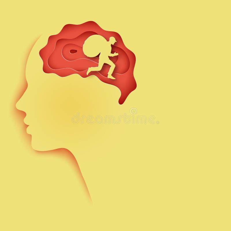 Perfil humano cortado de papel acodado del papel coloreado con el cerebro libre illustration