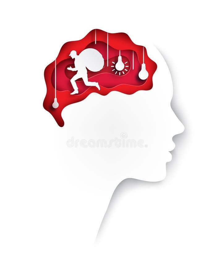 Perfil humano cortado de papel acodado del papel coloreado con el cerebro stock de ilustración