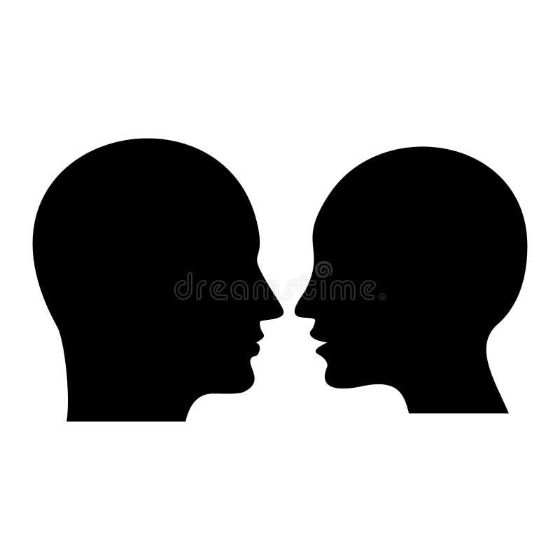 Perfil humano Silhueta preta da cabeça do homem e da mulher ilustração do vetor