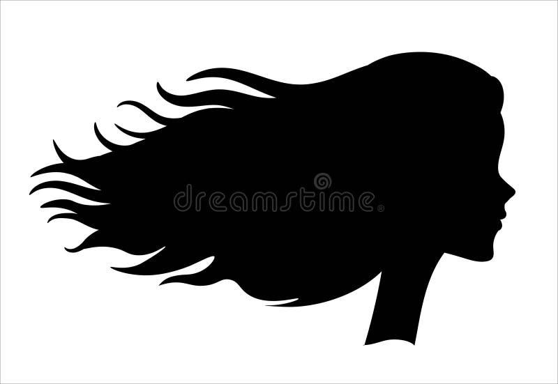 Perfil lateral de una muchacha ilustración del vector