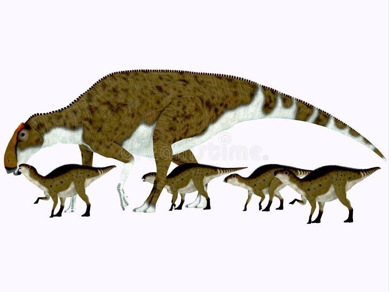 Perfil lateral do Brachylophosaurus ilustração royalty free