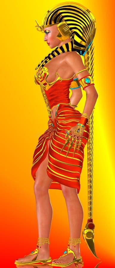 Perfil lateral, rainha egípcia do faraó ilustração royalty free