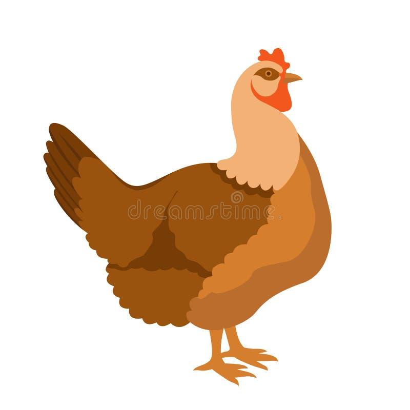 Perfil liso da cor do estilo do vetor da galinha ilustração do vetor
