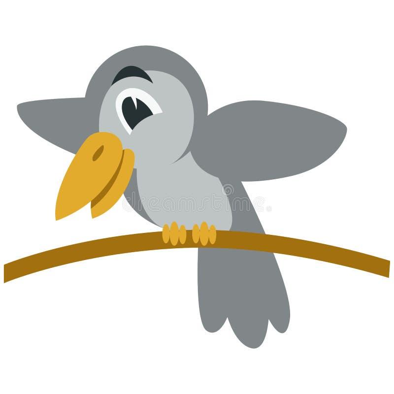 Perfil liso do estilo da ilustração do vetor do brench do corvo dos desenhos animados ilustração royalty free