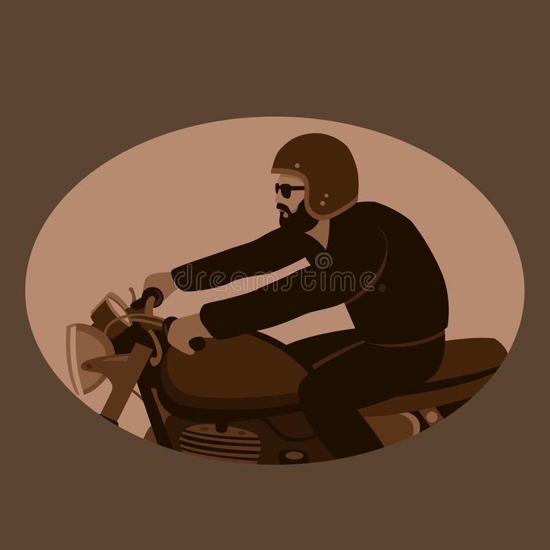 Perfil liso do estilo da ilustração do vetor do vintage do motociclista ilustração royalty free