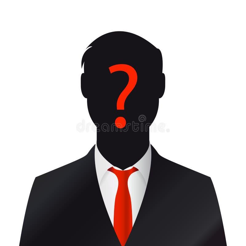 Perfil masculino da silhueta Homem de negócios com ponto de interrogação ilustração royalty free