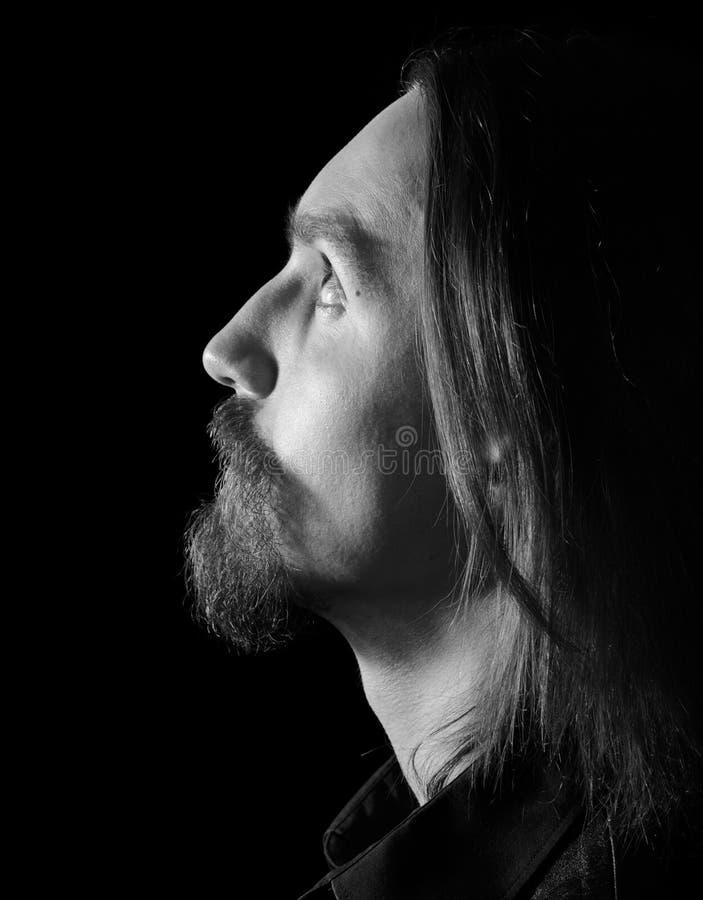Perfil masculino, preto e branco fotografia de stock
