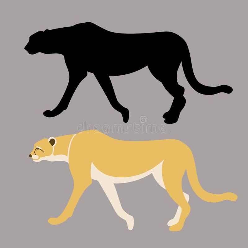 Perfil plano del estilo de la silueta del guepardo del ejemplo negro del vector ilustración del vector