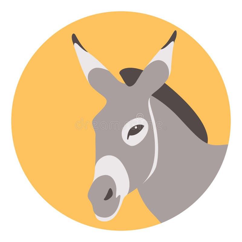 Perfil plano del estilo del ejemplo principal del vector del burro ilustración del vector