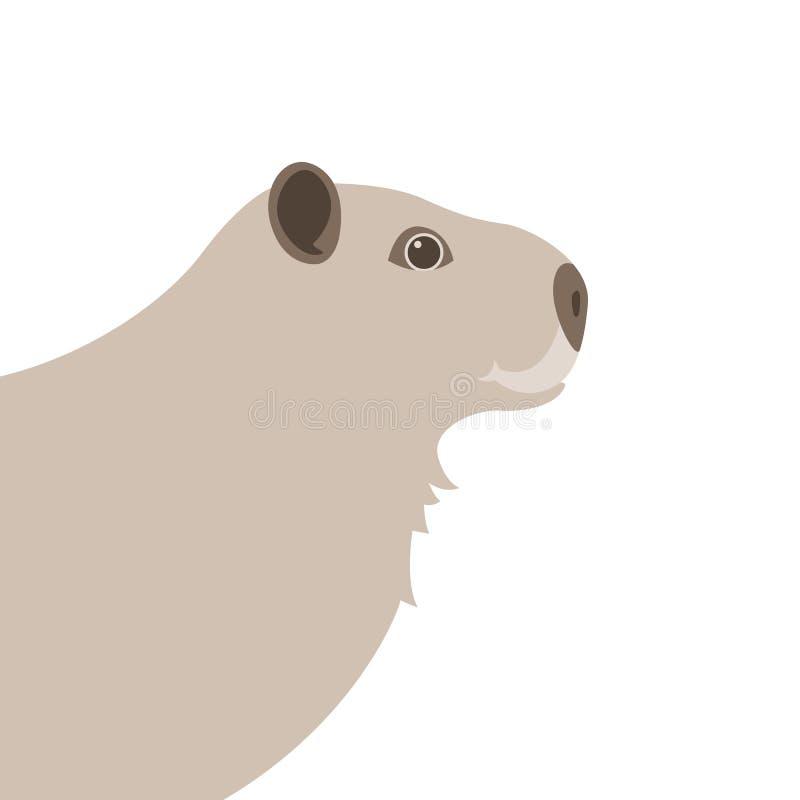 Perfil plano del estilo del ejemplo principal del vector del Capybara libre illustration