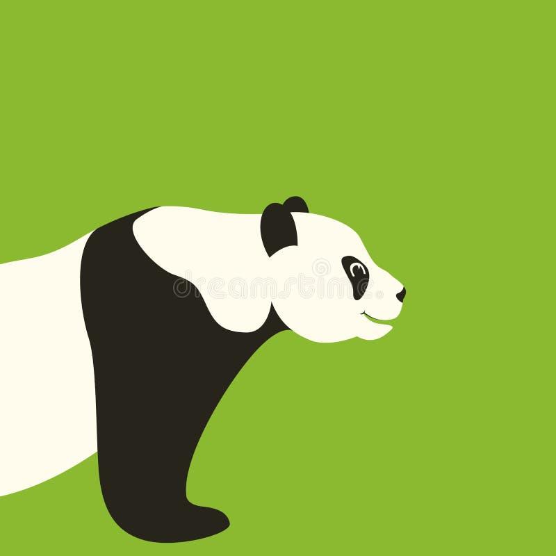 Perfil plano del estilo del ejemplo del vector de la cara de la panda libre illustration