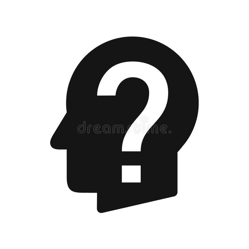 Perfil principal humano con el signo de interrogación, perplejidad, icono negro simple del problema ilustración del vector