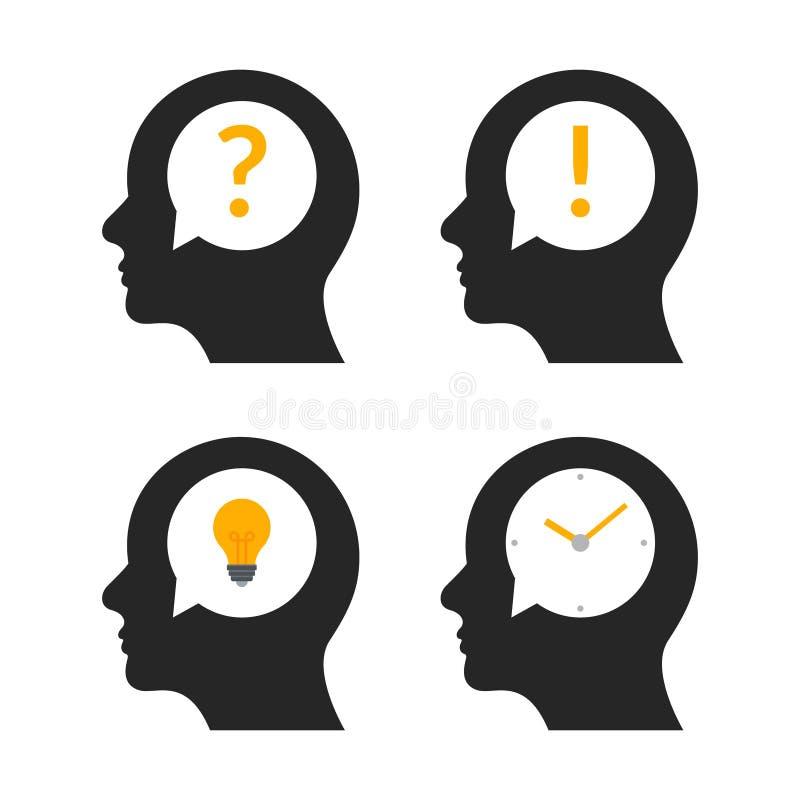 Perfil principal humano de la idea del cerebro Icono creativo del ejemplo de la mente de la gente de la pregunta del negocio de l stock de ilustración