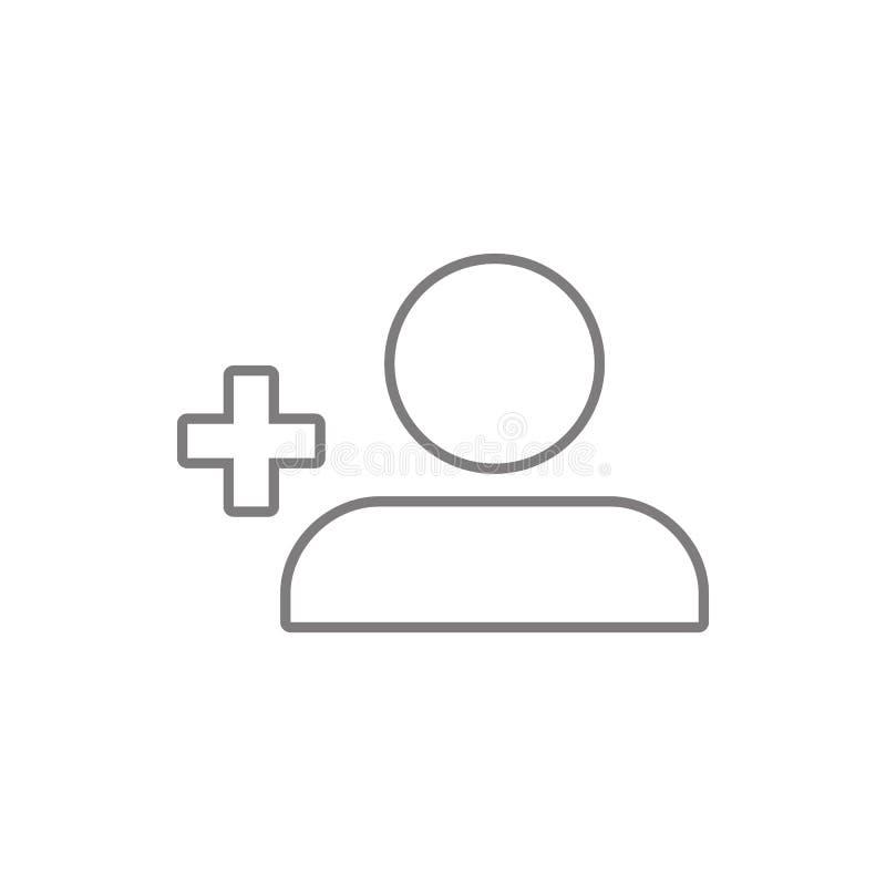 perfil Sinal simples do ícone Add Person Button Elemento da Web, minimalistic para o conceito e o ícone móveis dos apps da Web Li ilustração do vetor