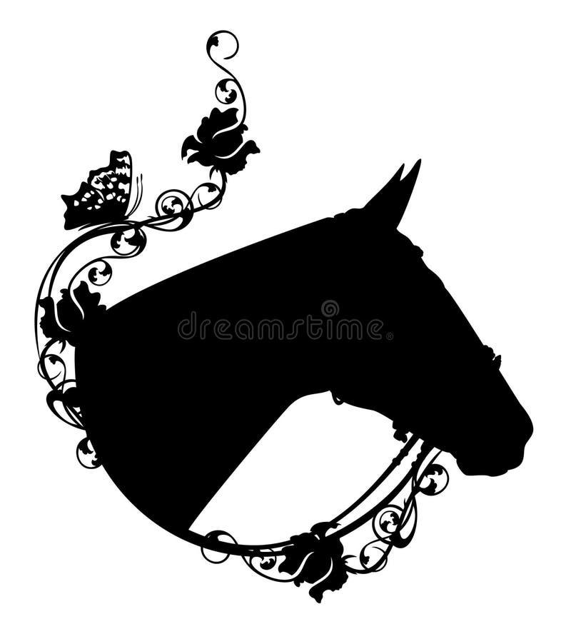 Perfile a cabeça de cavalo entre a silhueta cor-de-rosa do vetor das flores ilustração do vetor