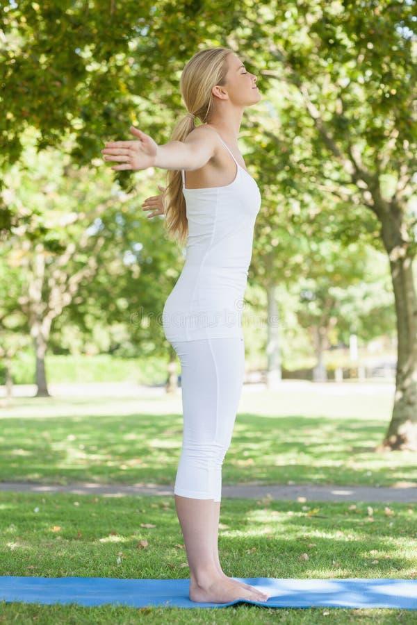 Perfile la opinión la mujer hermosa del ajuste que hace la yoga que se separa los brazos fotos de archivo libres de regalías